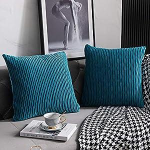 DEZENE Fundas de Almohada Turquesa 40cmx40cm: 2 Pulgadas Fundas de Cojines Decorativos Cuadrados de Terciopelo a Rayas Originales para Sofá de Dormitorio
