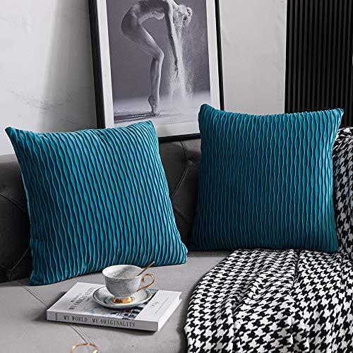 DEZENE Türkis Kissenbezüge 40cmx40cm: 2 Pack Original Gestreifte Samt Quadratische Dekorative Kissenbezüge für Schlafzimmer Couch