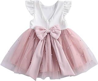 WangsCanis Abito Principessa in Tulle Vestito Bambina Cerimonia Senza Schienale Tutu Fiore Elegante con Bowknot Spettacolo...
