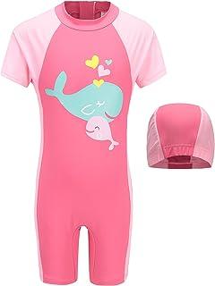 Girls One Piece Rash Guard Swimsuits Kids Short Sleeve Sunsuit Swimwear