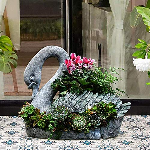 WBJLG Resina Creativa Cisne Diosa Maceta Maceta barroca Maceta Animales jardín Escultura Estatua...