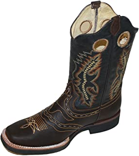 Men Cowboy Genuine Cowhide Leather Square Toe Rodeo Western Boots_Coffe_11