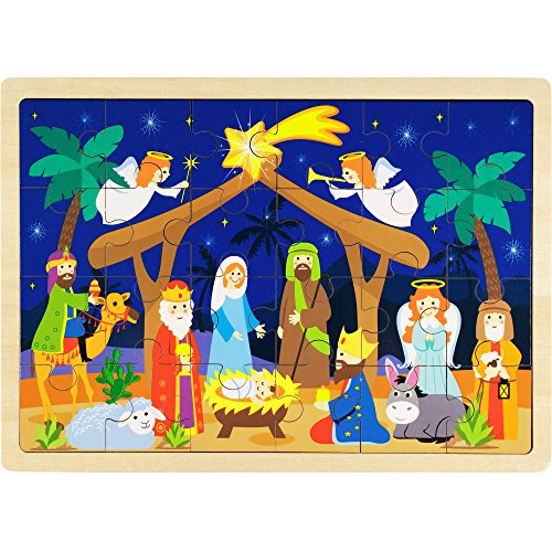 O Holy Night Nativity Scene 24-Piece Wooden Christmas Jigsaw Puzzle with Inset Frame by Imagination Generation