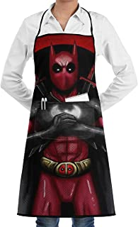 HMARTIN Unisex Deadpool Apron with Bulk Pockets for Chef Cooking Bib Apron Kitchen Waitress BBQ Painting Stylist