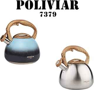 POLIVIAR Tea Kettle, Seabed blue/Sliver Ti Stovetop Tea Kettle 2.7 Quart, Audible Whistling Teapot, Food Grade Stainless Steel and Anti Hot Handle, Suitable for All Heat Sources