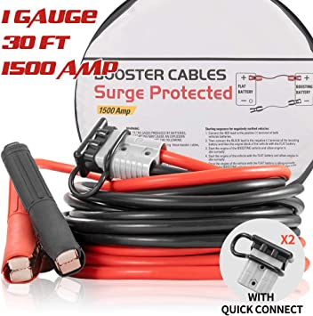 Booster Jumper Cables Heavy Duty 1 Gauge 1500 AMP 30 FT with Quick Connect Plugs Travel Bag for Truck SUV Car: image