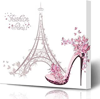 Ahawoso Canvas Prints Wall Art Printing 12x12 Pink Paris Highheeled Shoes On Eiffel Tower Beauty France Butterfly Flower Architecture Beautiful Painting Artwork Home Living Room Office Bedroom Dorm