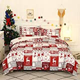 Christmas Comforter Cover King - Christmas Holiday Winter Gorgeous Snowman Snowflake Elk Santa Claus Deer Pattern Duvet Cover Soft Easy Care Bedding Set with Decorative Pillow Covers,Red White Grey