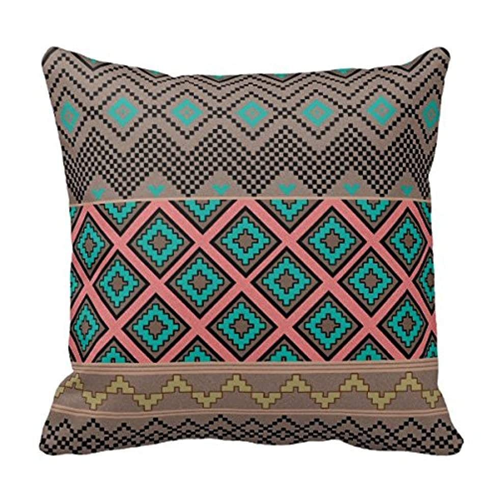 Goodaily Pillowcase Teal Peach Girly Tribal Aztec Zigzag Andes Pattern Throw Pillow Cover for Sofa and Car