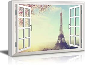 Window View Eiffel Tower in Paris with Cherry Blossom Gallery 24x36 inches