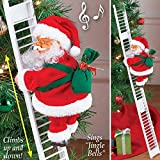 Electric Santa Climbing Ladder to Tree, Climbing Up and Down Santa Claus on Ladder with Music and Bag of Presents Tree Holiday Party Home Door Wall Decoration Xmas Ornament Toys