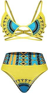 ZTMN Conjunto de Bikini de Cintura Alta de Brazlian Halter Africano Traje de baño de Manga Larga Hembra Traje de baño Fuera del Hombro