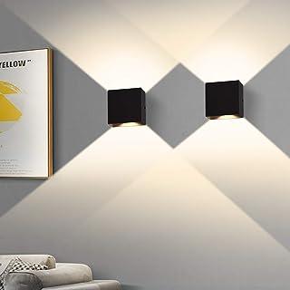 2 Pcs Applique Lumiere Murale Interieur/Exterieur LED, éclairage Cube Mural d'extérieur,6W Lampe Murale,3000K IP65 Exterie...