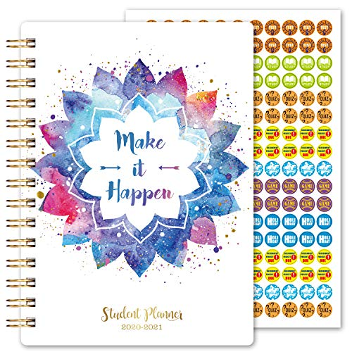 2020-2021 Student Planner-Dated Student Planner 2020-2021 for Middle School or High School, Jul 2020-Jun 2021, 6.4' x 8.5', Strong Binding, Tabs, Pocket, Check Box, Ruler and Stickers, School Supplies