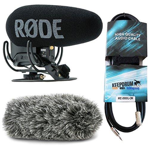Rode VideoMic Pro Plus fotocamera microfono + Deadcat VMP + + Keep Drum Mini Jack prolunga 3m