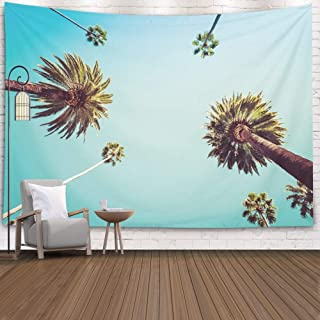Art Tapestry Pamime Home Decor Tapestry for Palm Trees Vintage Clear Summer Skies Los Angeles Vintge Wall Hanging Tapestries for Dorm Room Bedroom Living Room 80x60 Inches(200x150cm)Bedspread InHouse