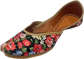 Leather Mojari Jutti Printed,Footwear Slip on Punjabi Ethnic,Embroidered Saashiwear Womens