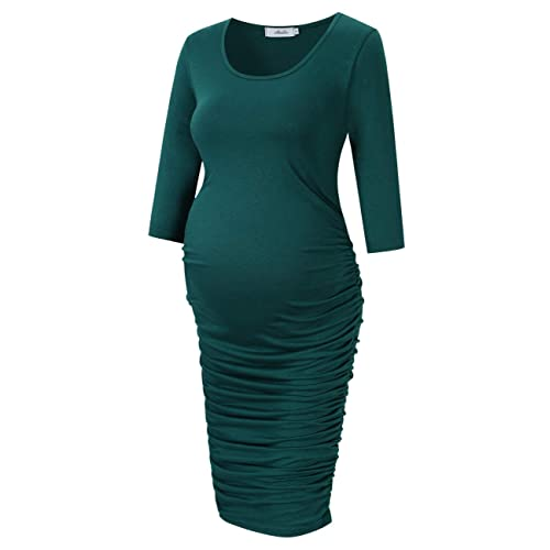 89011bb30db Coolmee Maternity Dress Ruched Round Neck Maternity Dresses