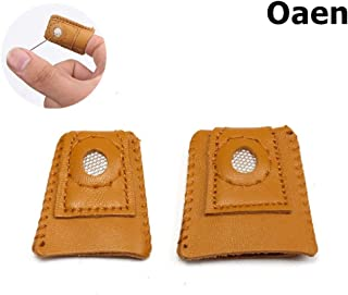 Pack of 2 Sewing Thimble Finger Protector Leather Coin Thimble Finger Protector Knitting Thimble Shield Protector Pin Needles Sewing Quilting Craft Accessories DIY Sewing Tools, 2 Size
