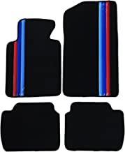 Floor Mat Compatible With 1999-2005 BMW E46 3-Series | Premium Quality Front & Rear Factory Floor Mat M Color Stripeby IKON MOTORSPORTS | ?2000 2001 2002 2003 2004