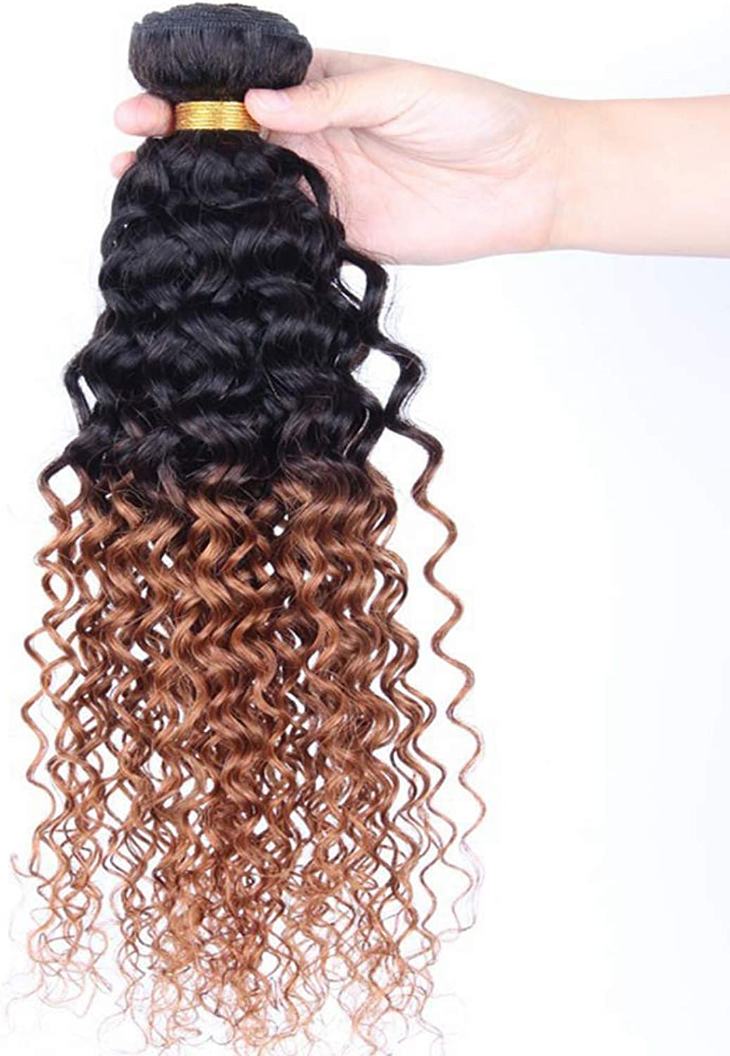Beauty equipment Women's small curly wig, 100% Brazilian real hair high density natural long Black hair root brown hair wig heat resistant,Suitable for all women