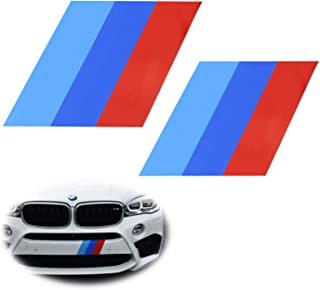 iJDMTOY (2) 7x7-Inch Iconic M-Performance Tri-Color Decal Stickers For BMW Side Skirt, Bumper, Hood Cosmetic Decoration, Made w/Reflective Material