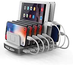 USB C Charging Station with 2 Quick Charge 3.0 Ports, Unitek 96W 7-Port Charger Dock and Universal Charging Stand Organizer Compatible with iPhone, Ipad, Type C Smartphones, Tablets