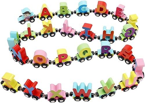 SUPVOX Magnetische Zug Holz Alphabet Zug Spielzeug Kinder Frühe Lernspielzeug P gogische Spielzeug 27 Stück