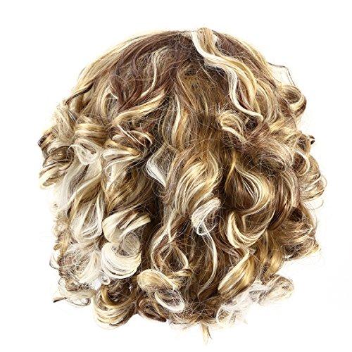 Frcolor Peluca ondulada corta peluca rizada corta del pelo rubio de las mujeres...