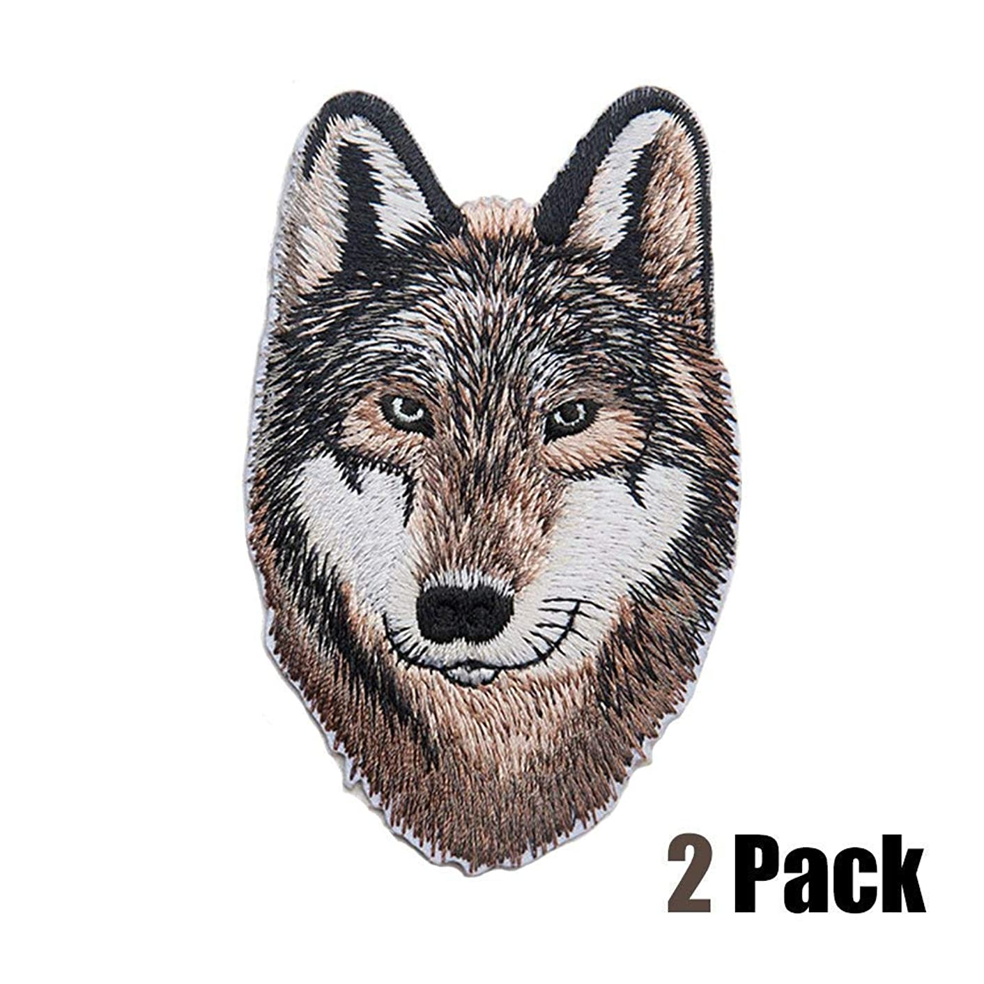 2 Pcs House Stark Wolf Patch Delicate Embroidered Patches, Direwolf Cute Embroidery Patches, Iron On Patches, Sew On Applique Patch,Cool Patches for Men, Women, Kids