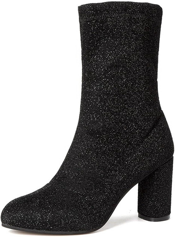 AandN Womens Boots Closed-Toe Zip High-Heel Warm Lining Studded Road Nubuck Manmade Bootie Outdoor Light-Weight Urethane Boots DKU01948