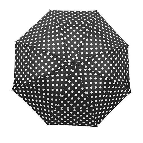 Winddichte paraplu windbestendig opvouwbare dubbel geventileerde regenhemel met sterke open, Witte potten (zwart) - D7817