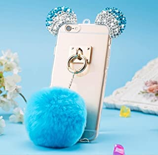 Omorro 3D Bear Ear Mouse Gradient Change Shiny Diamond Rhinestone Glitter Bling Flurry Villih Hair Ball Pendant Ultrathin Protect Clear Cover Case for Girl's for iPhone 5/5S/SE
