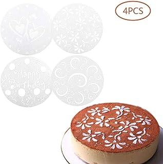 Kitchen-dream Plantillas de aerosol de corazón de flores de 4 estilos, herramientas de panadería de decoración de moldes para pasteles de cumpleaños, plantillas de decoración de pasteles reutilizables