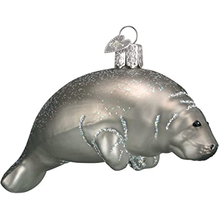 Old World Christmas Sea and Water Animals Glass Blown Ornaments for Christmas Tree,Manatee