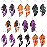 Sntieecr 8 Pairs Halloween 3 Layered Faux Leather Earrings Glitter Leather Drop Earrings