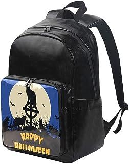 DEZIRO mochila de lona para Halloween, gato negro y luna llena, mochila de viaje, mochila plegable al aire libre, correas ajustables para el hombro