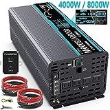 FLAMEZUM 正弦波インバーター 4000W 12Vを100Vに変換 50hz/60hz切り替え可能 2.4AのUSBポート付き ACコンセント 4口 リモコンつき LEDディスプレイつき