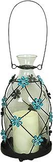 Glitzhome Iron & Glass Blue Daisy Battery Operated LED Lantern