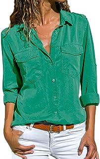 BaZhaHei Camisas Mujer Casual Camiseta de Cuello Alto de Solapa Casual para Mujer Camisetas de Manga Larga de Blusa de Hebilla para niña Camisas De Vestir Blusa de Manga Larga de Solapa para Mujer