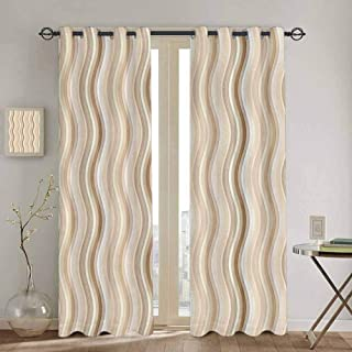Tan Room Darkening Curtains for Bedroom Wavy Curvy Lines Flowing in Vertical Direction Swirl Energy Motion Inspired Cute Curtain W52 x L63 Inch Light Brown Tan White