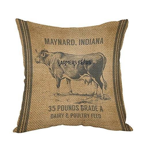 Moslion Vintage Cow Feed Sack Pillow,Home Decorative Throw Pillow Cover Cotton Linen Cushion for Couch/Sofa/Bedroom/Livingroom/Kitchen/Car 18 x 18 inch Pillow case