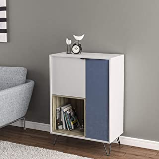 HOMEBOX Cayman Multi Utility Cabinet with 2-Doors, White - 75 x 75 x 106 cm