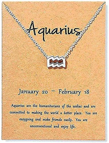 YOUZYHG co.,ltd Collar Vintage Collar de Escorpio Aries Virgo Tarjeta de Mensaje Joyería 12 Colgantes de constelación Collares para Mujer Regalo de cumpleaños