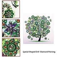 5Dダイヤモンドがセット絵画、DIY特殊形状ダイヤモンド刺繍、リビングルームのベッドルームのためのアートワークシーズンツリーフラワー(2個),Spring