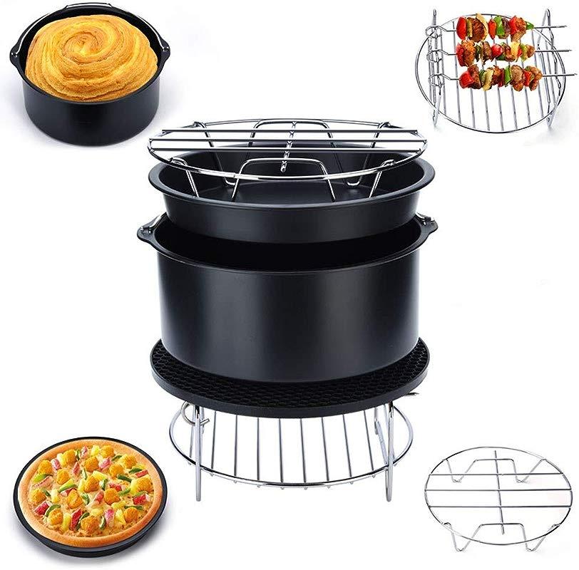 5 In 1 Multifunctional Air Fryer Accessories Set Kit Parts Metal Holder Skewer Rack Cake Barrel For Cozyna Philips Gowise Power Air Fryers