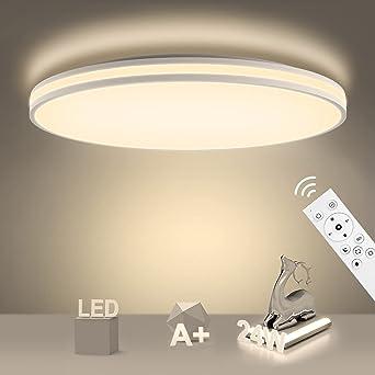 TALLA 28cm. NIXIUKOL 24W Plafon LED Techo Regulable con Mando a Distáncia Lámpara de Techo Regulable IP54 Impermeable Lampara Techo Luz 3000K-6500K para Dormitorio, Sala de Estar, Cocina, Baño 28cm