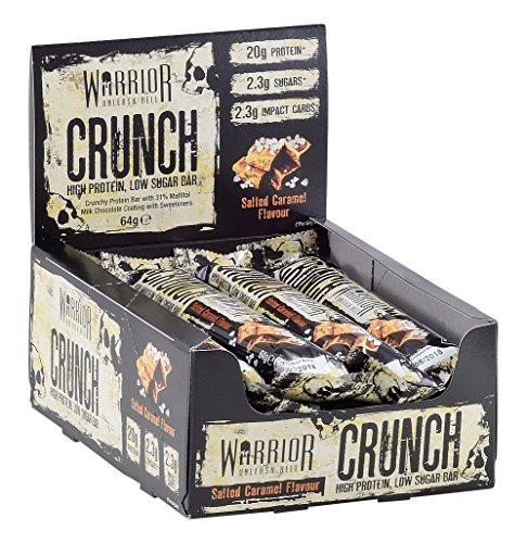 Warrior CRUNCH High Protein Bars - 20g Protein Each - Salted Caramel - Pack of 12x 64g