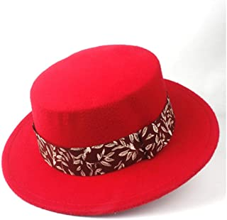 2019 Mens Womens Hats Mens New Steampunk Women for Men Wool Flat Top Hat with Ribbon Winter Jazz Hat Wide Brim Pork Pie Hat Friend Party Church Hat Size 56-58CM Autumn (Color : Red, Size : 56-58)