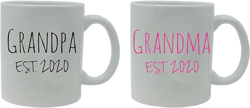 Grandpa Grandma Established EST 2020 11 Ounce White Ceramic Coffee Mugs Set
